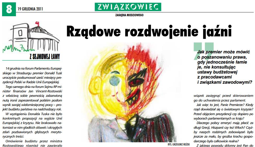 Cartoon Drawing for Związkowiec: Government's Split Personality