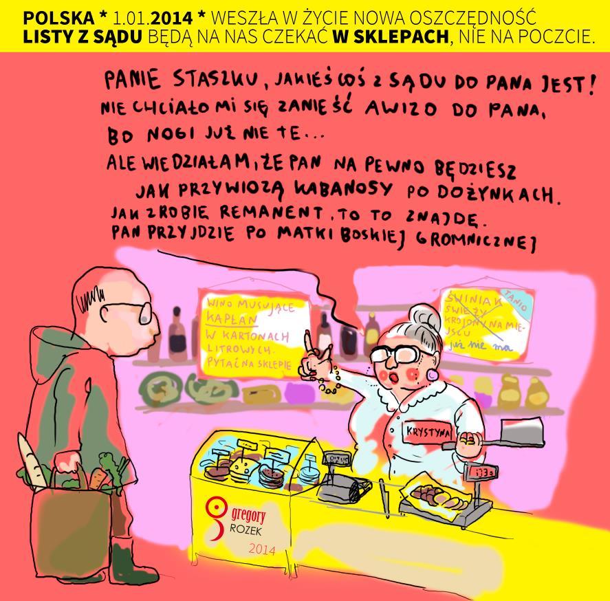 Polska Grupa Pocztowa i przesyłki sądowe - karykatura 2014